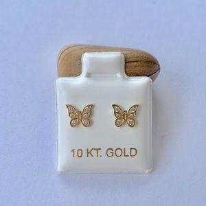 Real 10k Gold Earrings Studs Butterfly Baby CZ
